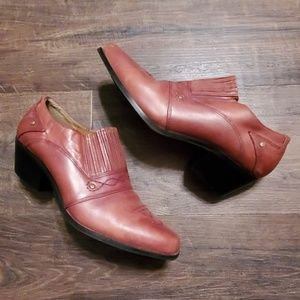 Dingo Leather Booties Brown 7.5